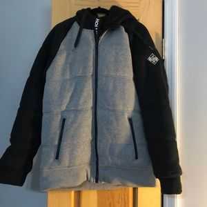 BARELY WORN, HOLLISTER QUITED HOODIE/COAT